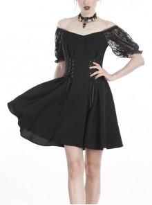 Black Gothic Lolita Lace Waist Polyester Lace-Up Chiffon Dress