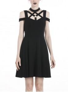 Black Punk Sexy Hollow Cotton Cross Strap Ring Belt Dress