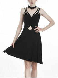 Punk Black Ghost Face Rayon Cross Strapless Sexy RayonStrap Dress