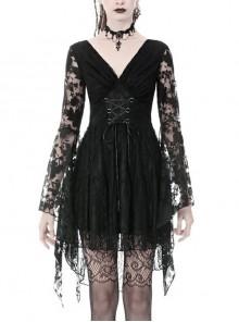 Gothic Black Japanese Lace Kimono Long Sleeves Ties Waist Irregularities Neck Nylon Dress