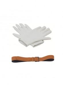 Japanese Anime Fullmetal Alchemist Edward Elric Halloween Cosplay Accessories Brown Waist Belt And White Gloves