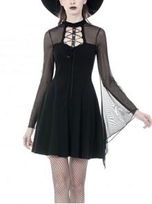 Black Punk Mesh Horn Long Sleeves Perspective Sexy Lace Up Irregular Waist Rayon Midi Dress