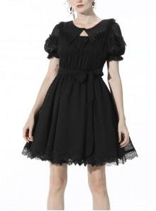 Black Dead Bat Doll Collar Gothic Lolita Lace Slim Fit Belt Polyester Mini Dress