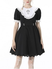 Lolita Black Gothic White Lace Slim Fit Puff Sleeves Alice In Wonderland Polyester Contrast Collar Dress
