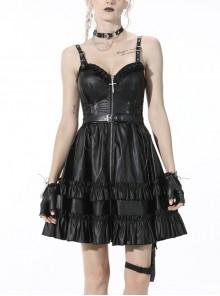 Black Gothic Cross Zipper Belt Lace Rebel Locomotive Girl Faux Leather Strap Dress