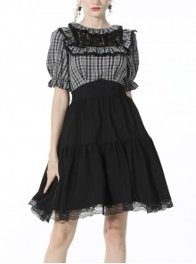 Black Gothic Lolita Plaid Lace Peter Pan Collar Stitching Lost Girl Grid Rayon Prom Dress