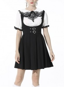 Black Gothic Preppy Style Love Button Slim Fit Pleated Lace Up Back Polyester Suspenders Skirt