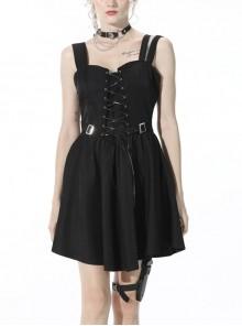 Black Cold Waist Zipper Punk Lace Up Chest Asymmetric Rayon Strap Dress