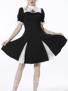Gothic Black Dead Cross Cross White Lace Stitching Puff Sleeve Slim Fit Polyester Short-Sleeves Dress