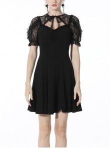 Gothic Sexy Black Bow Tie Slim Fit Lady Fake Two Pieces Lace Puff Sleeves Cotton Dress