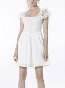 White Gothic Lolita Angelic Beauty Lace Slim Fit White Cross Chest Square Neck Cotton Mini Dress