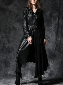Gothic Sexy Black Elegant Loose Asymmetric Bouffancy Ghost Belt Pu Nylon Robe Jacket