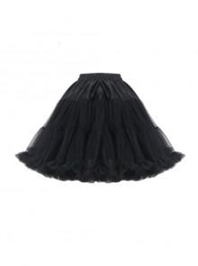 Gothic Black Lolita Sexy Elegant Lace Solf Polyester Bubble Skirt Pettiskirt