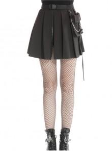 Punk Black Irregular Chain Belt Satchel Casual Bag Side Polyester Pleated Short Skirt