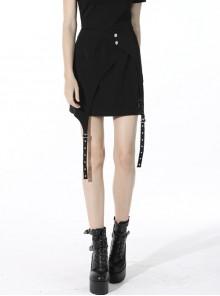 Punk Black Lady Webbing Buckle Sheet Slim Fit Asymmetrical Mini Skirt