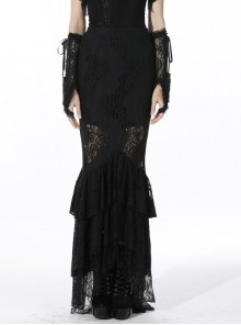Black Gothic Pattern Sexy Slim Fit Buttocks Mermaid Lace Hollow Out Maxi Skirt