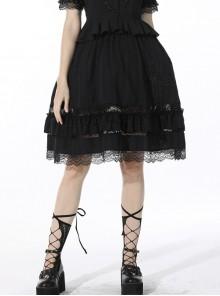 Black Lolita Cross Side Hollow Pattern Lace Tutu Cotton Out Skirt
