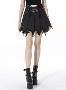 Punk Black Mesh Irregular Multilayer Skull Tattered Pleated Cotton Mini Skirt