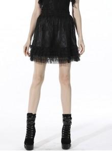 Black Lolita Pattern Slim Elastic Band Lace Layered Trim Polyester Mini Skirt