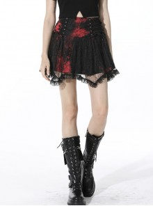 Punk Black Red Pattern Irregular Lace Lace Tie-Dyed Covered Mesh Cotton Mini Skirt