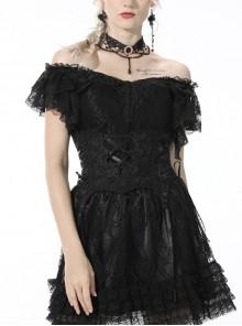 Black Gothic Pattern Elegant Slim Irregular Sexy Lace Ruffle Rayon Short Sleeves Top