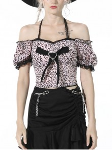 Women Lolita Gothic Short Puff Sleeve Strapless Sling Black Leopard Print Sexy Heart Knot Polyester Top