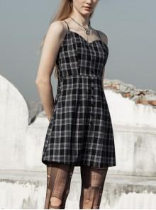 Black White Plaid Punk Skull Studded Belt Suspender Dress