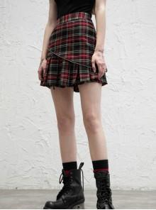Black Red Two-Way Wear Pleated A-Hem Punk Zipper Skirt