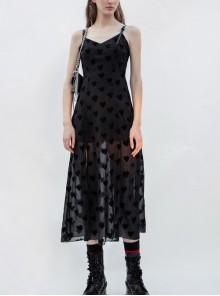Black Heart Chiffon Waist Gothic Leather Sling Long Dress