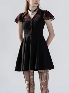 V-Neck Ruffled Short-Sleeved Check Chiffon Punk Waisted Skull Stud Dress