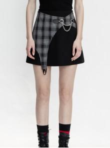 Black White Asymmetrical Trellis Stitching Checkered Removable Chain Punk A-Skirt