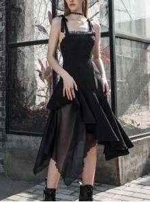 Front Chest Organza Lace Decoration Cross-Tied Rope Shoulder Strap Irregular Splice Mesh Hem Black Punk Dress