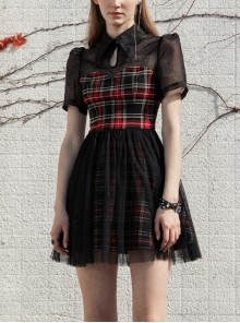 Lining Collar Short Sleeve Splice Mesh Black And Red Plaid Punk A-Shaped Dress