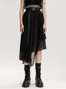 Metal Buckle Belt Irregular Hem Black Punk Chiffon Lace Skirt