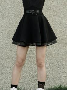 Front Metal Buckle Loops High Waist Splice Mesh Black Punk Short Skirt
