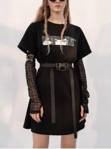 Front Chest Print Mesh Sleeve Buckle Belt Black Punk Dress