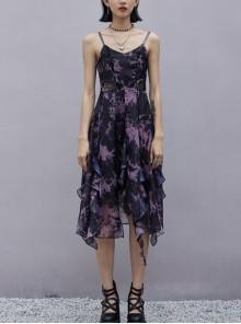 Front Chest Lace-Up Irregularly Stitched Agaric Laces Hem Purple Print Chiffon Sling Dress