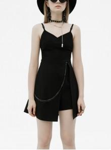 Side Metal Chain Decoration Split Hem Black Punk Sling Short Dress
