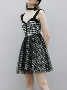 Front Metal Rivet Decoration Splice Mesh Punk Black Plaid Vest Slip Dress