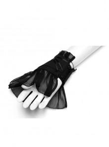 Cross Decoration Black Punk Flare-Shaped Fingerless Mesh Gloves