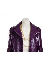 Suicide Squad The Joker Purple Leather Coat Suit Halloween Cosplay Accessories Golden Necklace