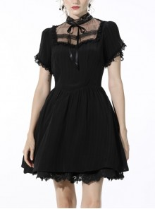Innocent Girl Gothic Lolita Bowknot Hollow Lace Puff Sleeve Vertical Soft Short Sleeves Rayon Black Dress
