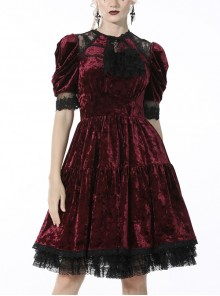 Gothic Velvet Hollow Lace Self-Cultivation Multi-Level Dead Wine Polyester Frilly Neck Dress