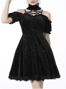 Gothic Black Velvet Hollow Lace Pattern Cross Sexy Self-Cultivation Polyester Star Magic Princess Printed Velvet Dress