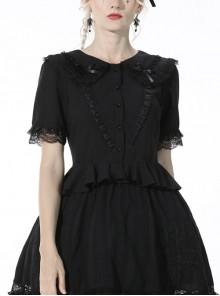 Gothic Lace Buttons Symmetrical Slim Fit Black Lolita Doll Collar Vertical Chiffon Blouse