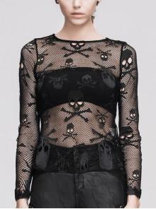 Punk Black Skull Knit Long-Sleeve Open-Neck Round Collar Elastic Shirt