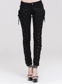 Punk Side Metal Buttonholes With Rope Straps Stretch Black Pants