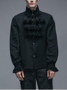 Gothic Black Ruffled Lace Button-Up Micro-bullet Chiffon Long Sleeve Shirt