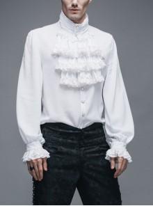 White Gothic Ruffled Lace Button-Up Micro-bullet Chiffon Long Sleeve Shirt