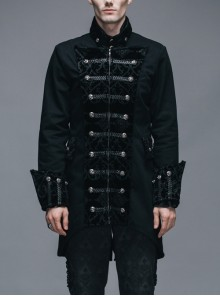 Gothic Collar With Singed Tweed Cuffs Front Chest With Four-Button Trim Split Black Jacket